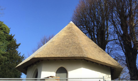 thatched ice house in Sussex